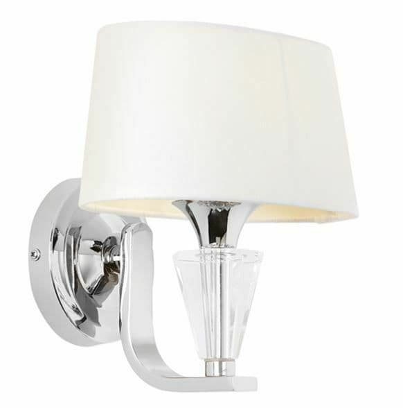 Fiennes Chrome plate & vintage white fabric dimmable Wall Light